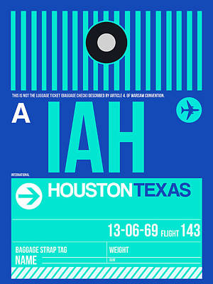 Travel Digital Art - Houston Airport Poster 2 by Naxart Studio