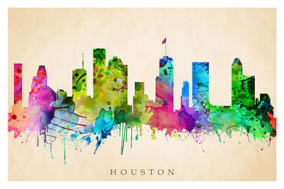 Digital Art - Houston Cityscape by Steve Will