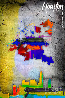 Skylines Mixed Media - Houston Map And Skyline Watercolor by Marvin Blaine
