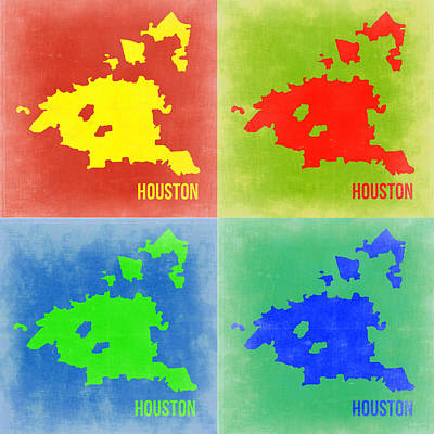 Modern Poster Painting - Houston Pop Art Map 2 by Naxart Studio
