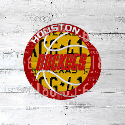 Team Mixed Media - Houston Rockets Basketball Team Retro Logo Vintage Recycled Texas License Plate Art by Design Turnpike