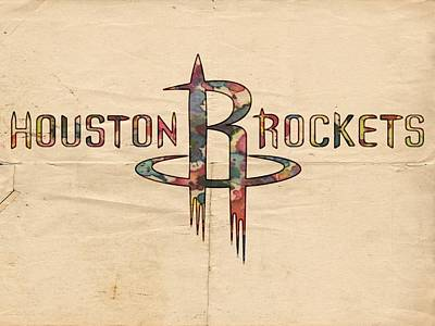 Basketball Painting - Houston Rockets Poster Art by Florian Rodarte