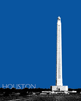 Tower Digital Art - Houston San Jacinto Monument - Royal Blue by DB Artist