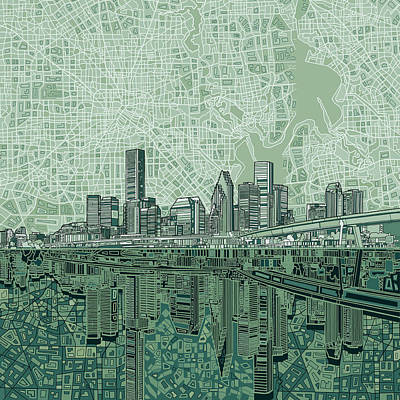 Vintage Map Painting - Houston Skyline Abstract 2 by Bekim Art