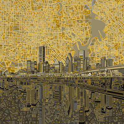 Abstract Skyline Paintings - Houston Skyline Abstract 4 by Bekim M
