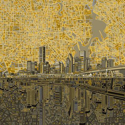 Houston Skyline Abstract 4 Art Print