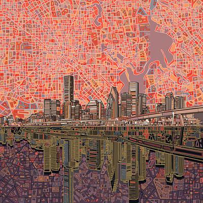 Houston Skyline Abstract 5 Art Print