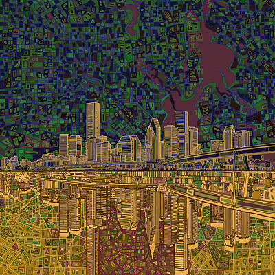Houston Skyline Abstract 6 Art Print