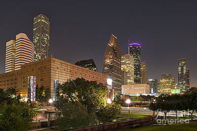 Texas Photograph - Houston Skyline At Night by Tod and Cynthia Grubbs