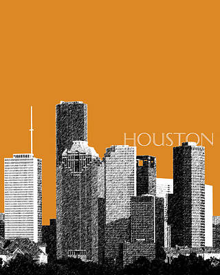 Pen Digital Art - Houston Skyline - Dark Orange by DB Artist