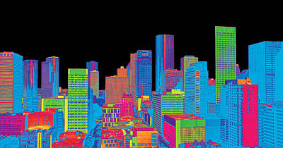 Photograph - Houston Skyline In Color by Judy Vincent