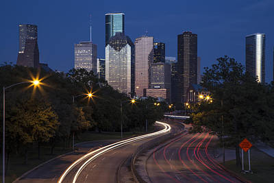 Photograph - Houston Skyline Long Exposure  by John McGraw