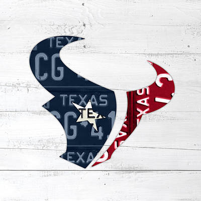 Football Mixed Media - Houston Texans Football Team Retro Logo Recycled Texas License Plate Art by Design Turnpike