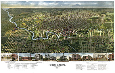 Texas Drawing - Houston Texas Birds Eye View Looking South 1891 by Pablo Romero