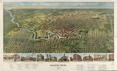 Houston, Texas Looking South 1891 D.w. Ensign & Co Art Print