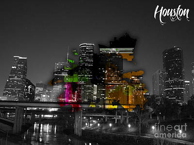 Skylines Mixed Media - Houston Texas Map And Skyline Watercolor by Marvin Blaine