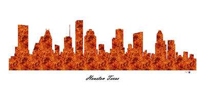 Etc. Digital Art - Houston Texas Raging Fire Skyline by Gregory Murray