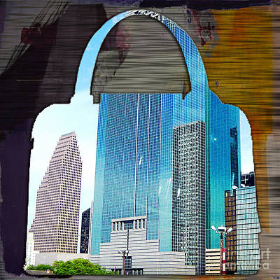 Handbag Mixed Media - Houston Texas Skyline In A Purse by Marvin Blaine