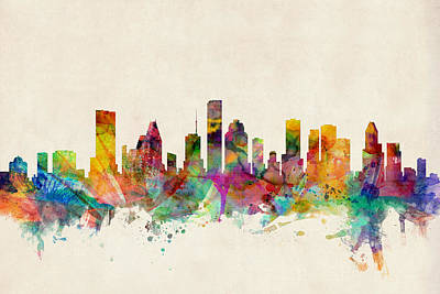 Watercolor Digital Art - Houston Texas Skyline by Michael Tompsett