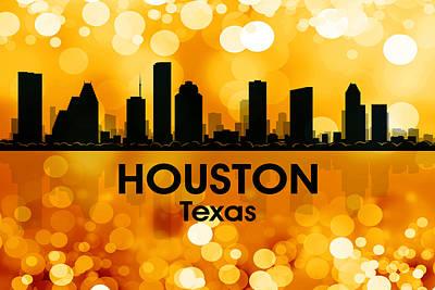 Abstract Skyline Mixed Media - Houston TX 3 by Angelina Tamez