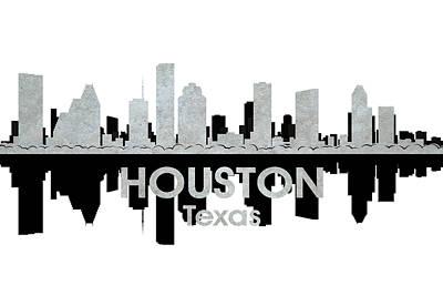 Abstract Skyline Mixed Media - Houston TX 4 by Angelina Tamez