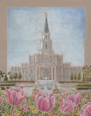 Texas Drawing - Houston Tx Lds Temple by Pris Hardy