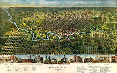Old Map Photograph - Houston Vintage Map 1891 by Stephen Stookey