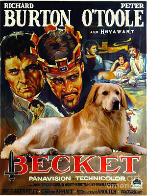 Painting - Hovawart Art Canvas Print - Becket Movie Poster by Sandra Sij