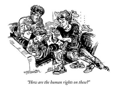 Sneakers Drawing - How Are The Human Rights On These? by William Hamilton