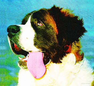 Veterinary Painting - How Bout A Kiss - St Bernard Art By Sharon Cummings by Sharon Cummings