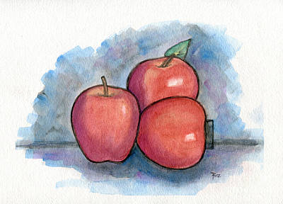 Painting - Three Apples. by Roz Abellera
