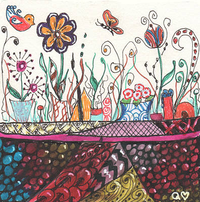 Drawing - How Does Your Garden Grow? by Quwatha Valentine