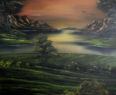 Wet On Wet Painting - How Green Is My Valley by Cynthia Adams