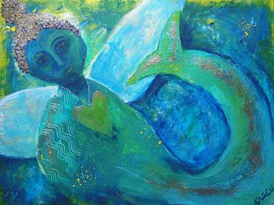 Angel Mermaids Ocean Painting - How It Feels To Be Me by Indigo Carlton
