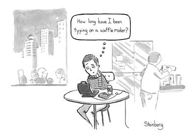 Works Drawing - How Long Have I Been Typing On A Waffle Maker? by Avi Steinberg