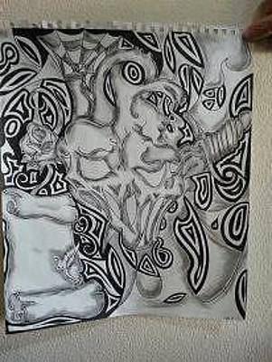 Kristin Smith Drawing - How Many Faces Do You See by Kristin Smith