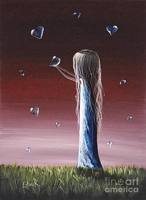 Floating Girl Painting - How She Says I Miss You By Shawna Erback by Shawna Erback