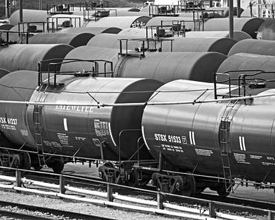 Photograph - How Sweet It Is - Tank Cars - Black And White by Bill Swartwout