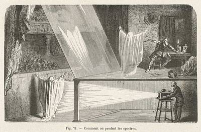 Optical Illusion Drawing - How The Ghost Is Made To  Appear by Mary Evans Picture Library