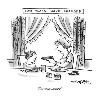Change Drawing - How Times Have Changed Eat Your Carrots! by Henry Martin