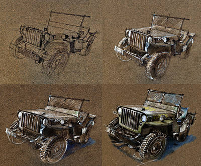 Jeep Drawing - How To Draw A 1943 Willys Jeep Mb Car by Daliana Pacuraru