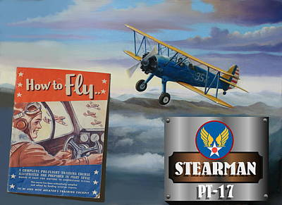How To Fly Stearman Pt-17 Art Print by Stuart Swartz