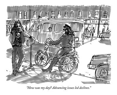 Gang Drawing - How Was My Day? Advancing Issues Led Declines by Michael Crawford