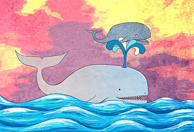 Whale Mixed Media - How Whales Have Fun by Shawna Rowe