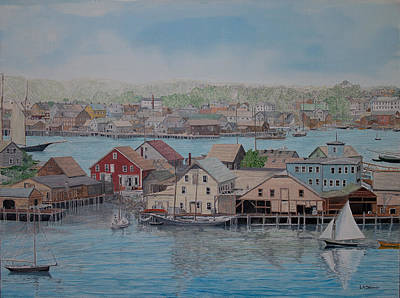 Painting - Howard Blackburn In Smith Cove by Laurence Dahlmer