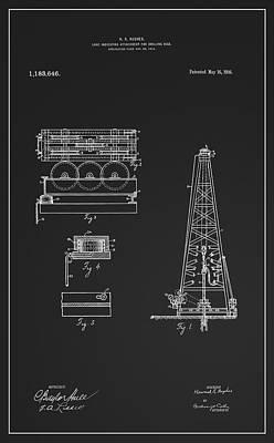 Scale Digital Art - Howard Hughes Oil Derrick Patent  1916 by Daniel Hagerman