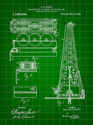 Workers Digital Art - Howard Hughes Drilling Rig Patent 1914 - Green by Stephen Younts