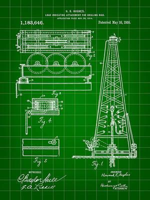Howard Hughes Drilling Rig Patent 1914 - Green Art Print