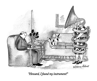 Wrap Drawing - Howard, I Found My Instrument! by Victoria Roberts
