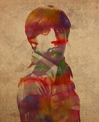 Howard Wolowitz Big Bang Theory Watercolor Portrait On Worn Distressed Canvas Art Print by Design Turnpike